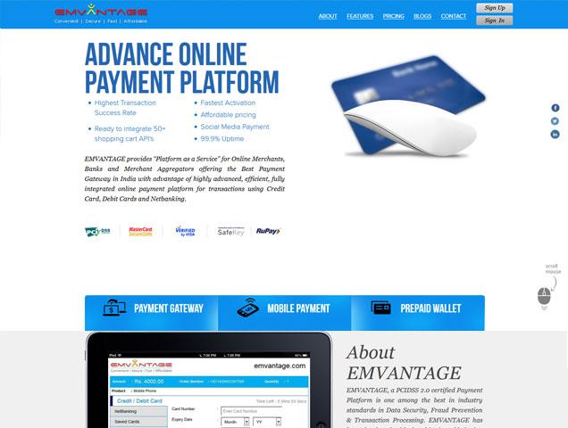 Emvantage website development, website design india