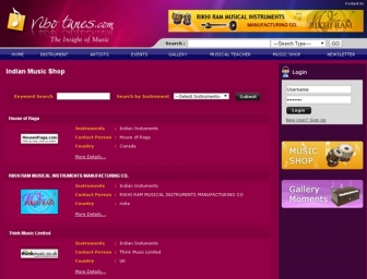 Indian Music shop page view